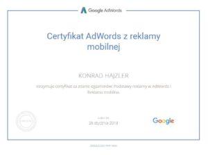 certyfikat google adwords mobilna reklama